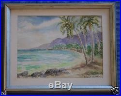 VTG Hawaiiana Orig Framed Signed Watercolor Painting Ma'alaea Bay Maui Hawaii