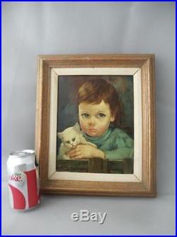 VTG ITALIAN GIOVANNI BRAGOLIN CRYING BOY w CAT CANVAS OIL PAINTING FRAMED SIGNED