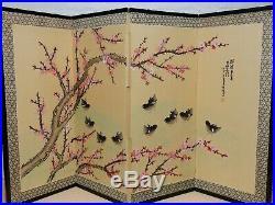 VTG Japanese Chinese 4 Panel Folding Screen Byobu Painted 60x35 Antique Signed