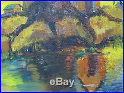 VTG Josephine Reiniger SIGNED Autumn Tree Expressionism Oil/Canvas Painting yqz