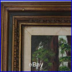 VTG MCM Mid-Century Large Framed California Redwood Oil Painting Signed