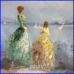 VTG. ORIGINAL MARIE CHARLOT OIL ON CANVAS SIGNED French Impressionist Painting