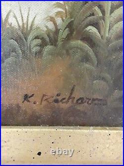 VTG Oil Painting Signed K. RICHARD Bunny Rabbits Munching Cabbage Ornate Frame