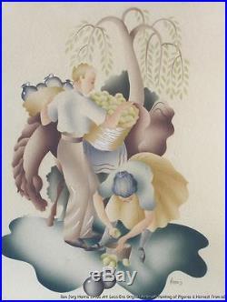 VTG Orig Frame Art Deco Era 1940s Signed BJ Harris Airbrush Painting Watercolor