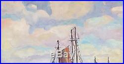 Vtg Signed Orig Oil Painting Seascape By Connecticut Artist Lars Thorsen
