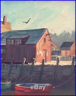 Vtg Signed Orig Oil Painting Seascape Of Rockport, Mass, By Michael Stoffa