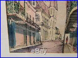 VTG SIGNED WILLIAM COLLINS Original Watercolor & Ink New Orleans French Quarter