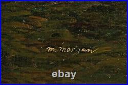 VTG Signed ORIGINAL PRIMITIVE OIL PAINTING M Morgan GREYHOUND DOG PORTRAIT 30x36