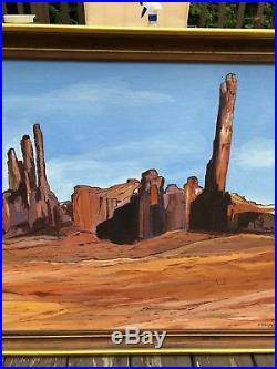 VTG Southwest Wyoming Desert Landscape Painting Signed Framed Large Thielpape