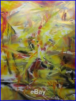 VTG de Kooning School SIGNED Fortier Abstract Expressionism Acrylic Painting yqz
