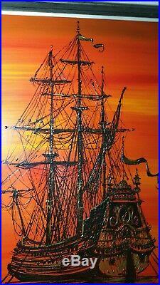 Van Gaard Vtg Oil Drip Art Painting Galleon Pirate Ship (Vanguard Studios)