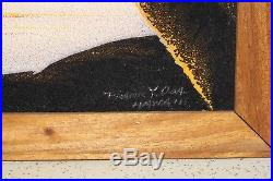 Velvet Oil Painting / Vintage Original Frank Oda Signed Hawaiian Sunset