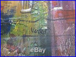Vertes Signed Large Painting Vintage Abstract Expressionism City Night Modern