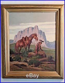 Very Rare Till Goodan Original Signed Vintage Oil Painting Of Cowboy & Horse