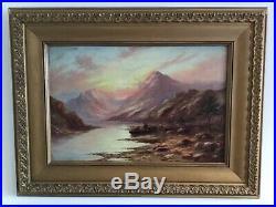 Very old large antique vintage gilt framed signed original oil painting