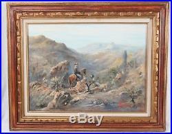 Vintage 18x24 Western Desert Landscape Oil Painting Cowboy Horse Cactus Signed