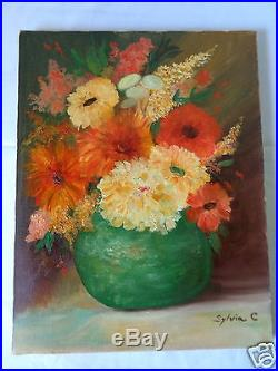 Vintage 1928 Signed Sylvia C Flowers In Vase Floral Still Life Canvas Painting