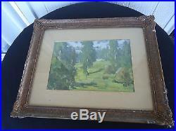 Vintage 1929 original French impressionist lanscape oil painting signed