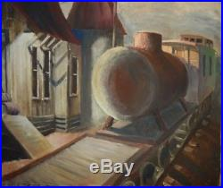 Vintage 1930s 1940s Texas Regionalist WPA Era Painting Train Station Collins