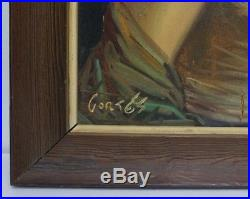 Vintage 1930s Spanish Beautiful Woman Oil Portrait Painting Signed Cortes 2 of 3