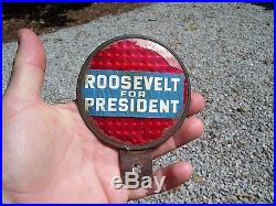 Vintage 1936 Roosevelt FDR Campaign auto license plate topper kit gm car chevy