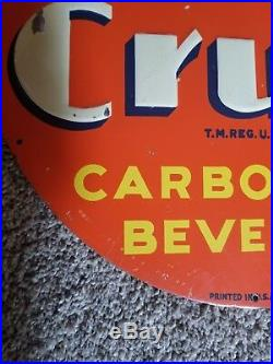 Vintage 1939 Round Embossed Orange Crush Painted Tin Soda Sign