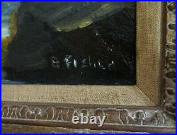 Vintage 1940's Oil Painting Seascape Double Sided With Fishermen Signed Fisher