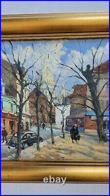 Vintage 1940's Oil Painting from WPA Estate Old Street Scene Cityscape Mystery