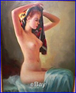 Vintage 1940s Master Painting of Nude Red Headed Glamour Girl