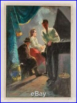 Vintage 1940s WPA Era Piano Bar Figures Night Life American Oil Painting Signed