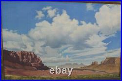Vintage 1948 Signed P. Hvolboll Oil Painting Desert Scene Calif Listed Artist