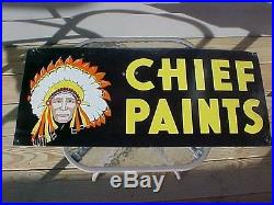 Vintage 1950-60's CHIEF PAINTS Double Sided Metal Sign