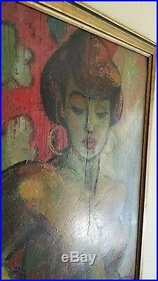 Vintage 1950 Signed Mystery Nude Female Modern Oil Painting WPA Era California