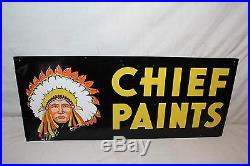 Vintage 1950's Chief Paint Paints Gas Oil 2 Sided 28 Metal Sign WithIndian