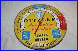 Vintage 1950's Ditzler Car Paint Gas Oil 12 Metal & Glass Thermometer Sign