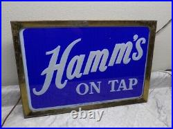 Vintage 1950's Hamm's Beer Light Up Reverse Painted Glass Double Side Sign