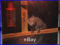Vintage 1950's Painting Alley Cat Dark Night Signed Oil Canvas Climbing Fence