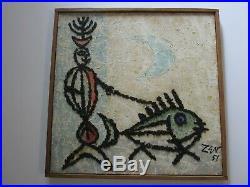 Vintage 1950's Zev Daniel Harris Abstract Sculptural Painting Mod Surrealism
