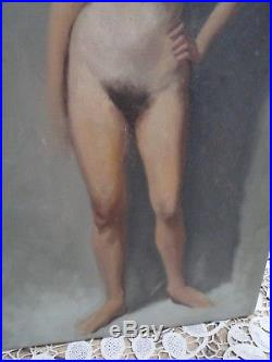 Vintage 1950s Brendon Berger Realistic Nude Woman Oil on Canvas Signed # 3 of 4