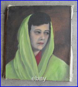 Vintage 1950s V Piersol Oil Painting Portrait Woman with Head Covering