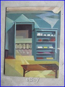 Vintage 1951 Mary B Schuster Signed Oil Painting Bookshelf in Room