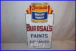 Vintage 1953 Burdsal's Paints Gas Oil 2 Sided 21 Porcelain Metal SignNice