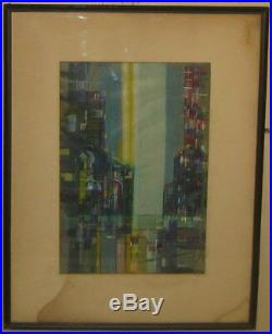 Vintage 1958 HAL POLIN Cubist MID CENTURY MODERN Architecture Painting LISTED