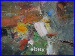 Vintage 1960's Abstract Painting Chunky Expressionism Mystery Artist French Mod