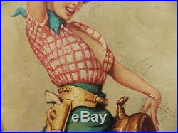 Vintage 1960's American Pin-up Girl Oil Painting, Signed Verso