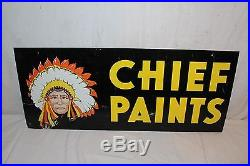 Vintage 1960's Chief Paint Paints Gas Oil 2 Sided 28 Metal Sign WithIndian