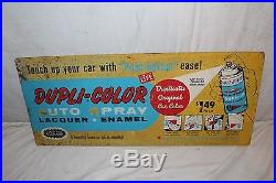 Vintage 1960's Dupli-Color Car Spray Paint Paints Gas Oil 2 Sided 24 Metal Sign