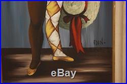 Vintage 1960's Framed Oil Painting Harlequin Girl with Big Eyes Signed Eden