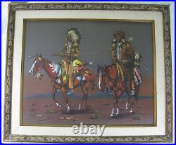 Vintage 1960's Guy Nez Jr. Navajo Men On Horses Gouache Watercolor Painting