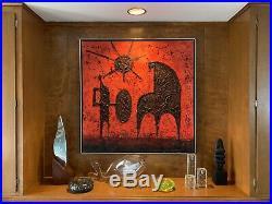 Vintage 1960s Signed Luzon Impasto Oil Painting Mid Century Modern Brutalist